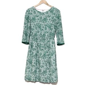 Boden | Green Paisley Dolly Day Dress Size 8